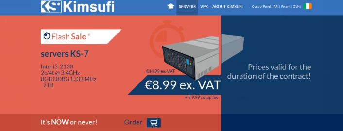 Kimsufi:加拿大法国独立服务器大促销KS-7特价€8.99月付
