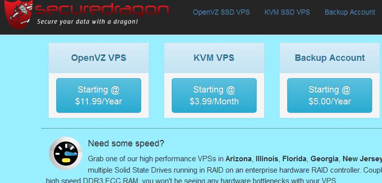 SecureDragon:大硬盘大流量特价优惠/2H/4G/1000GB/10TB/